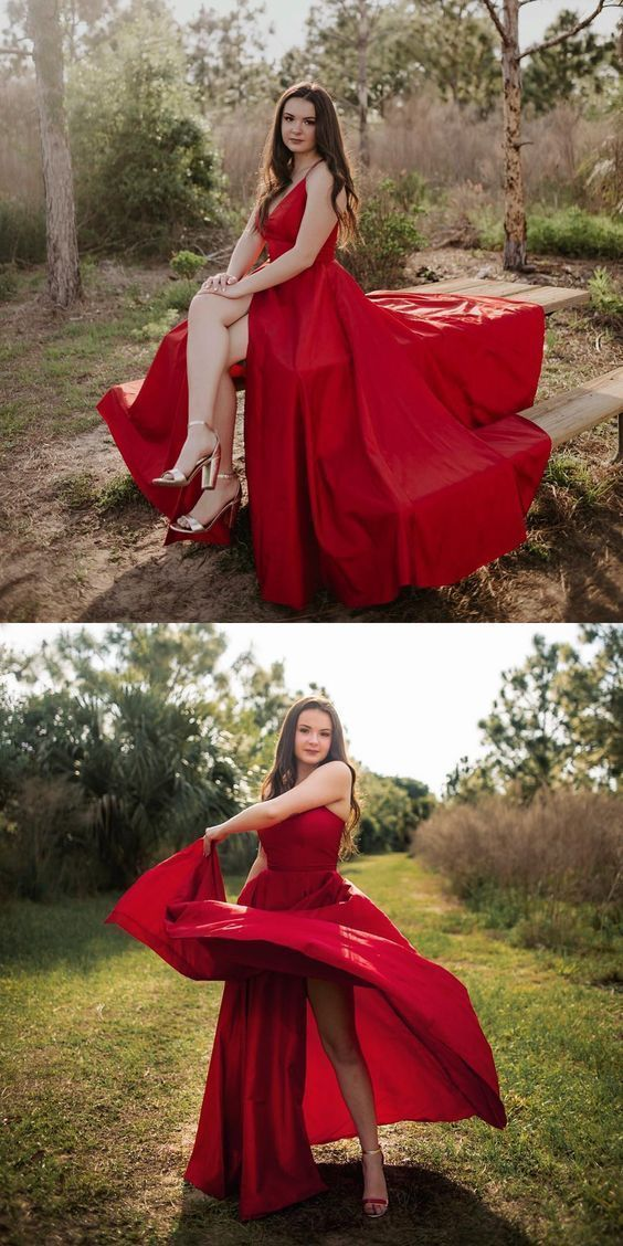 Sexy Red A Line Prom Dress, Spaghetti Straps Long Prom Dress, Evening Party