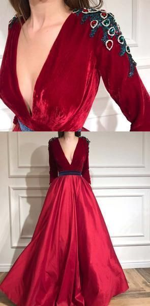 Cheap Charming Long Sleeves Red A-line Deep V-Neck Velvet Prom Dresses, Evening
