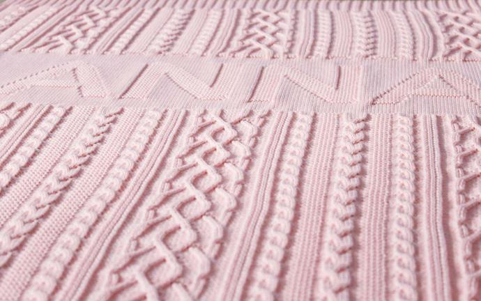 Knitted baby blanket with personalization - Baby shower gift for baby girl -