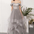 Plus Size Silver Tulle A Line Long Prom Dresses Strapless Wedding Party Gowns