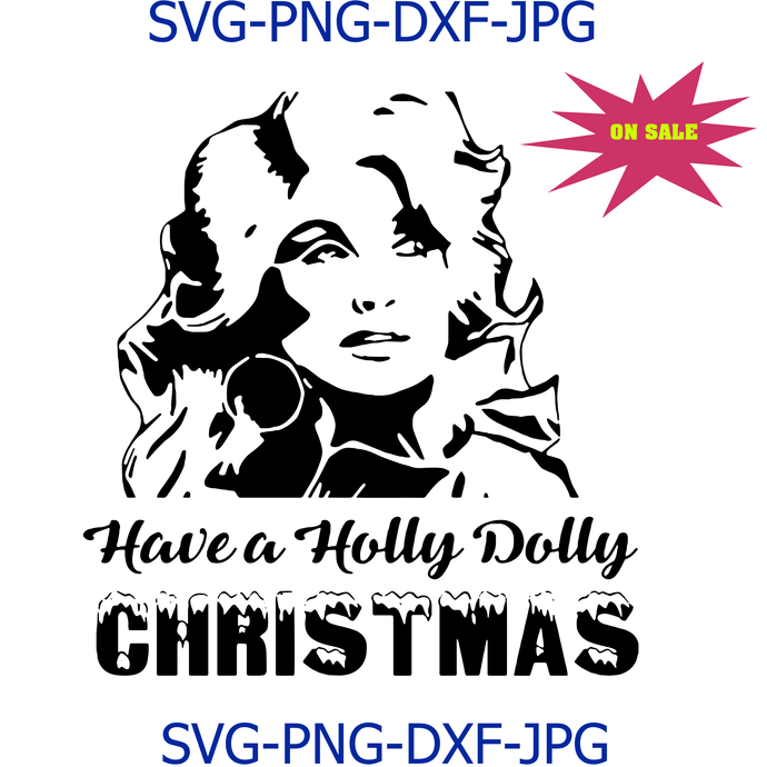 Holly Dolly Christmas SVG File, Cutting File, Dxf, Png, Jpeg, Instant Download