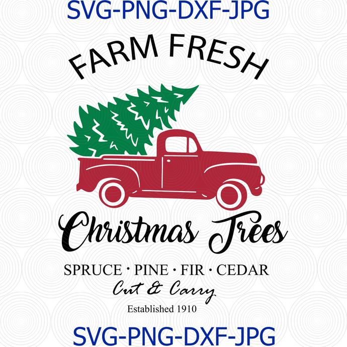 Farm Fresh Christmas Tree Farm SVG, Christmas shirt svg, Christmas, Merry