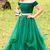 Off the Shoulder Green Two Piece Long Prom Dresses