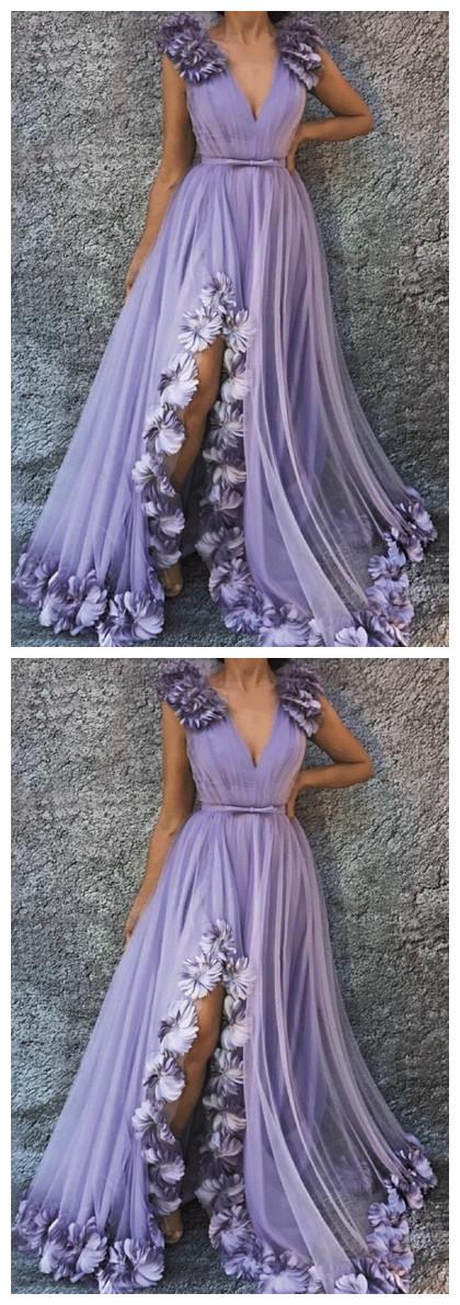 Lavender Tulle V Neck Long 3D Lace Applique Slit Prom Dress, Evening Dress