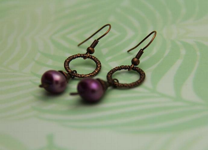 Lavender FW Pearl Copper Earring