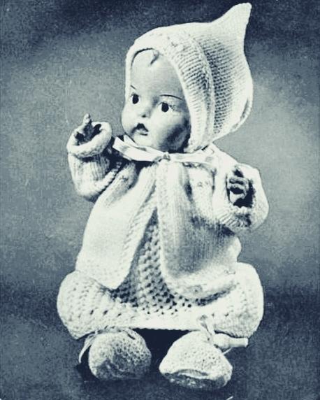 "Instant PDF Digital Download Vintage Knitting Pattern Baby Dolls Clothes for 12"""