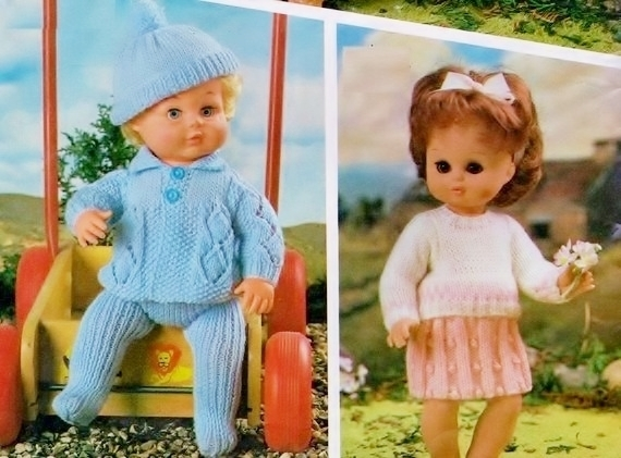 Instant Digital Download PDF Vintage Knitting Pattern Baby Doll's Clothes Two