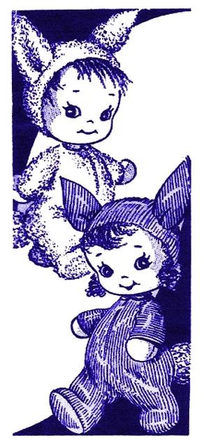 Instant PDF Digital Download Vintage Sewing Pattern Little Sock Bunny Rabbits