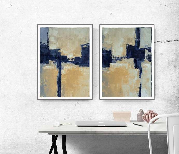 Printable Art, Art Poster, Digital Download, Wall Decor, Blue Abstract Art Set,