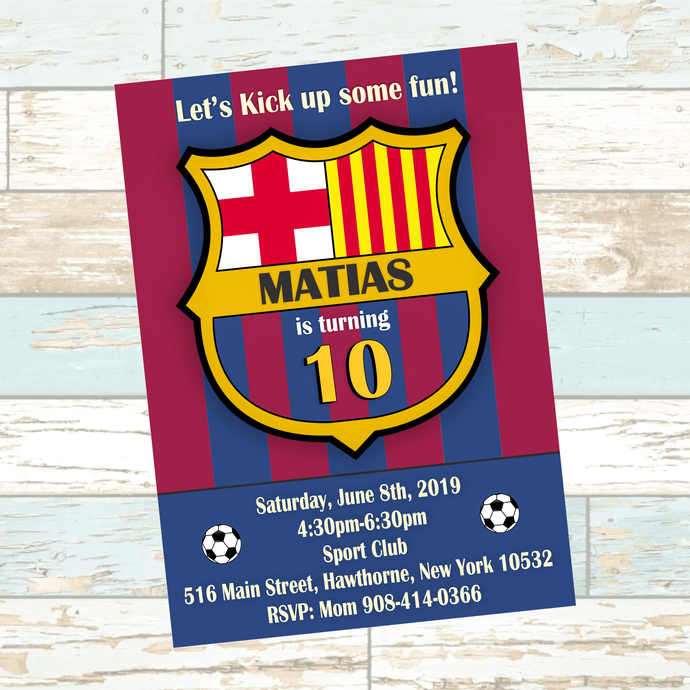 FC Barcelona  Birthday Party Invitation, La Liga,  Barcelona Socce League ,