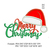Merry Christmas text with applique Santa hat embroidery Design,Text Saying