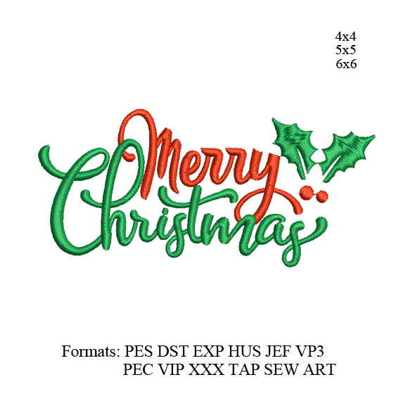 Merry Christmas Embroidery Design,Text Saying Embroidery Machine ,Christmas