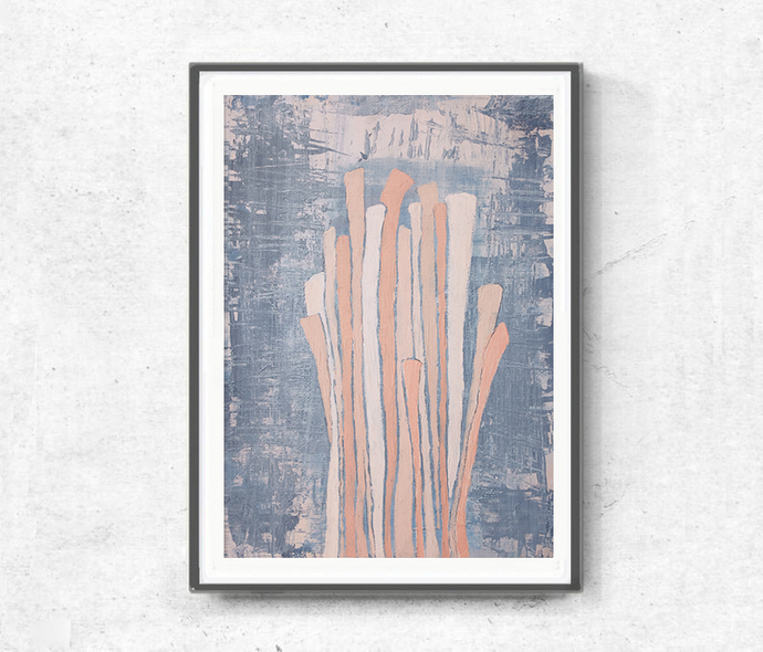 Acrylic gray peach abstract, original painting pastel , pink blush gray modern