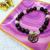 Gemstone stretch bracelet with Gear  charms