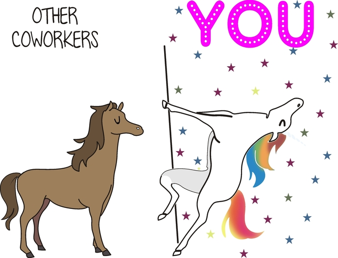 Other Coworkers, You, Unicorn on pole, Horse, dancing unicorn with stars, adult
