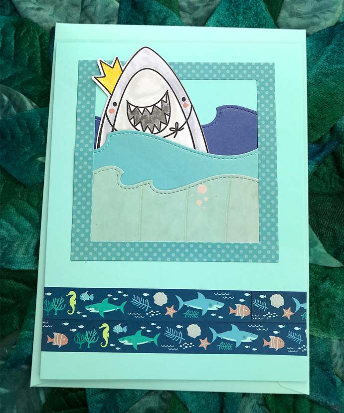 Royal Shark in Waves Greeting, Note Card, Swim, Ocean, Sea, All Occasion, Funny,