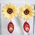 Fabric flower earrings chrysanthemum earrings wooden hand painted earrings hand