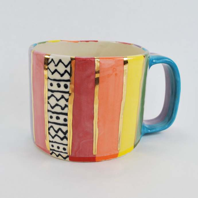 Handmade Colorful Rainbow Striped Ceramic Pottery Mug with Gold