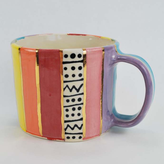 Handmade Colorful Rainbow Striped Ceramic Pottery Mug with Gold