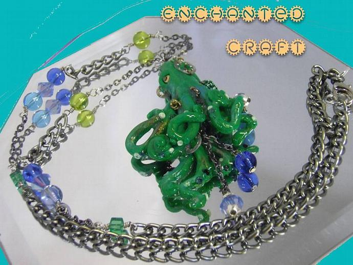 steampunk Green Octopus pendant with gunmetal chain, beads