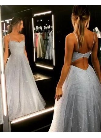 Charming Prom Dress,Tulle Prom Gown,V-Neck Prom Dress,Backless Wedding Gown 0068