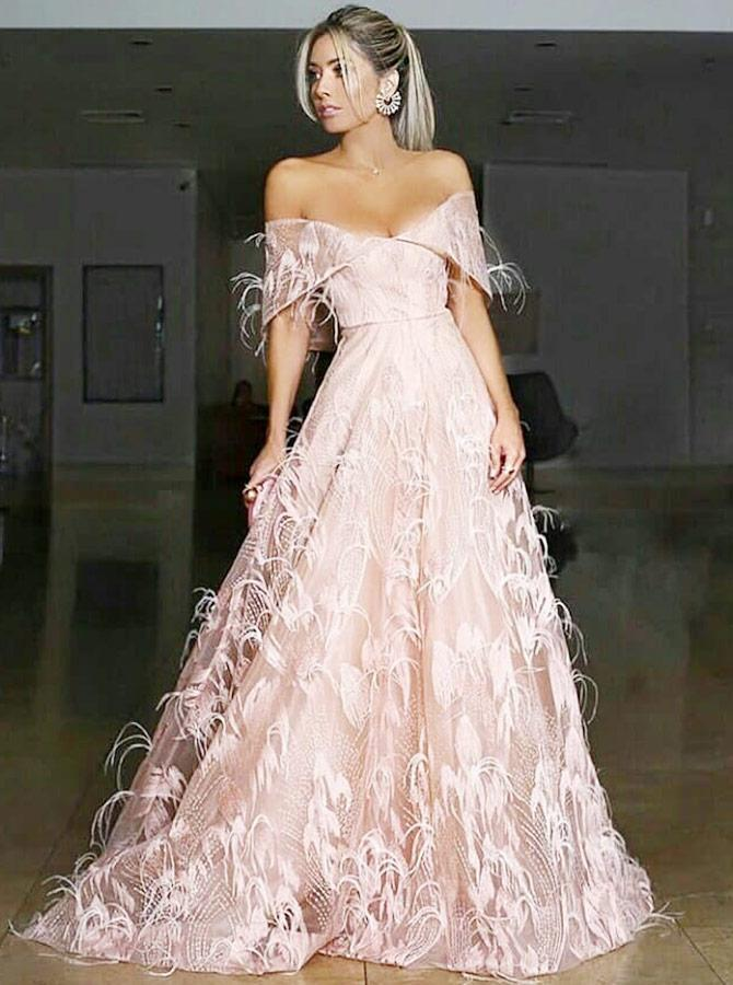 A-Line Off-the-Shoulder Sweep Train Pink Lace Prom Dress with Feather Evening