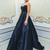 A-Line Sweetheart Navy Blue Satin Prom Dress with Beading Evening Dress S6520