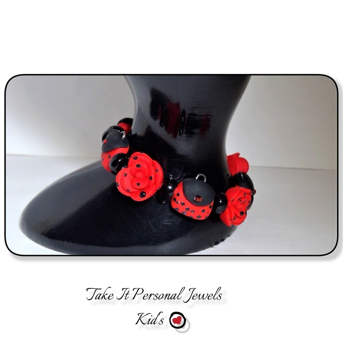 Girl's Red polka dot flower/purse bracelet polymer clay jewelry holiday gift