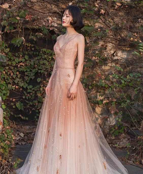 Unique champagne tulle long prom dress, tulle evening dress   ML3751