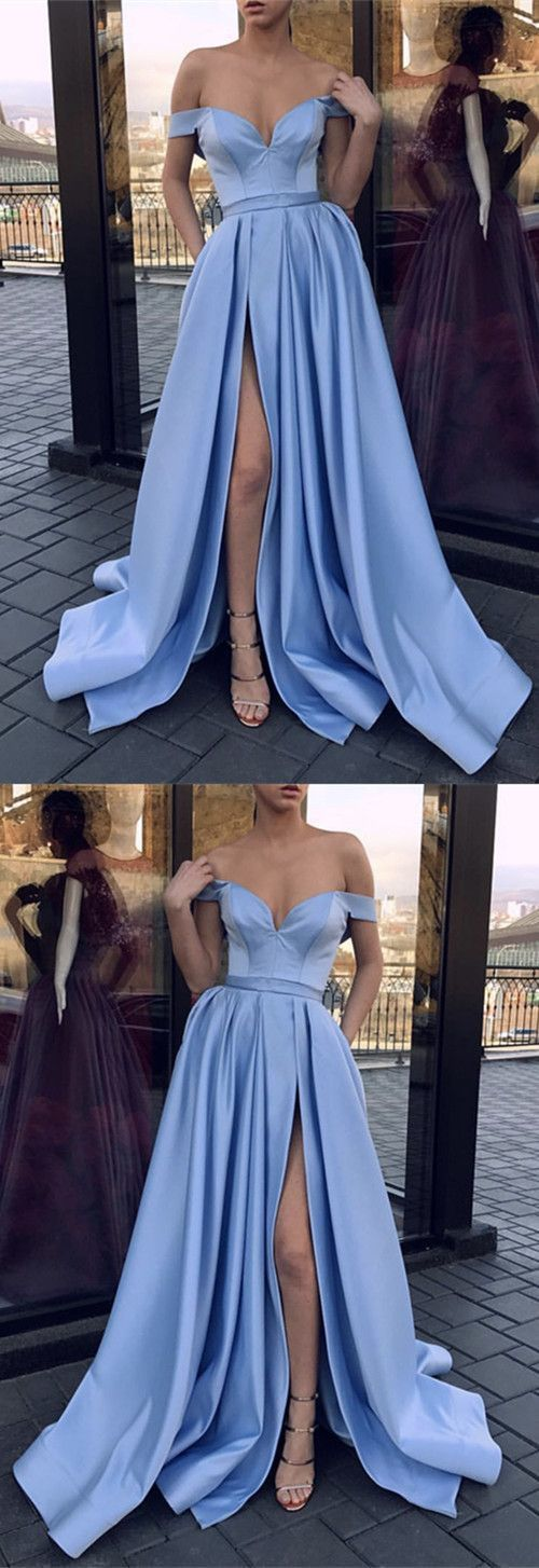 Sexy V-neck Off The Shoulder Long Satin Leg Split Evening Gowns P2328