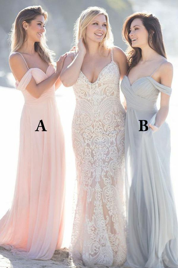 cheap bridesmaid dresses long chiffon off the shoulder a line pink wedding party