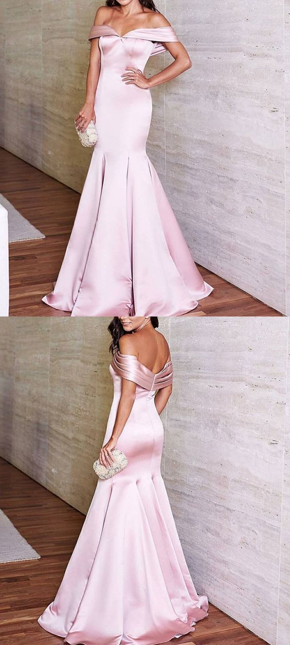 Elegant Mermaid Off Shoulder Satin Long Prom Evening Formal Gown Dress P2329