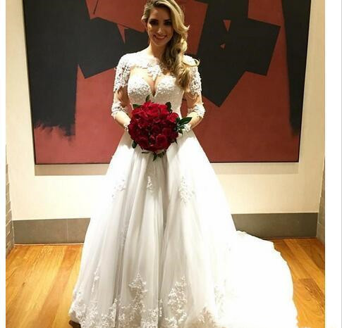 Charming Tulle White Wedding Dress, Appliques Bridal Dresses