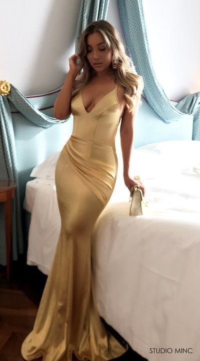 Mermaid Prom Dresses Short Train Spaghetti Straps Long Sexy Gold Prom Dress