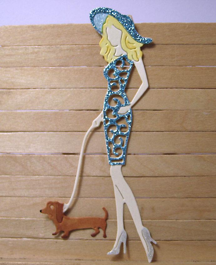 Pretty Lady Walking Dog Cutting Die