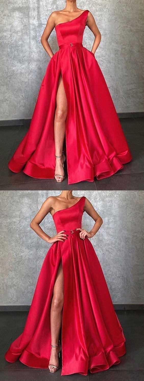 One Shoulder Red Satin Long Prom Dresses, One Shoulder Red Satin Formal Evening
