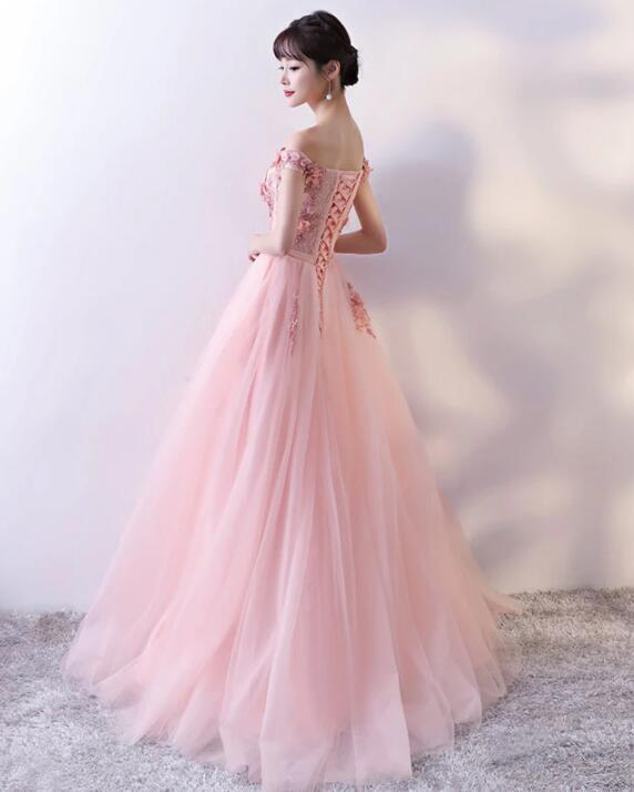 Pink Long A-line Flower Prom Dress 2020, Off Shoulder Party Dress