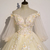Light Champagne Tulle 3/4 Sleeves Long Dress, Formal Dress With Lace applique