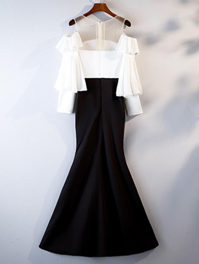 Black And White Satin Long Mermaid Vintage Prom Dress With Sleeve