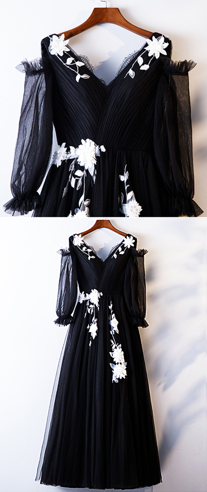 Black Tulle Mid Sleeve V Neck Long Prom Dress, Occasion Dress With Applique