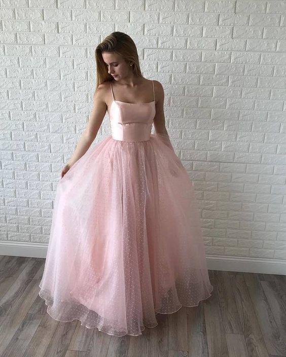 Princess Straps Pink Long Prom Dress