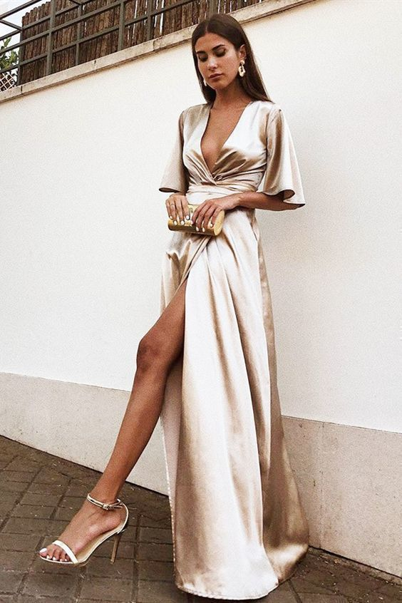 A-Line Deep V-Neck Champagne Satin Evening Prom Dress with Split