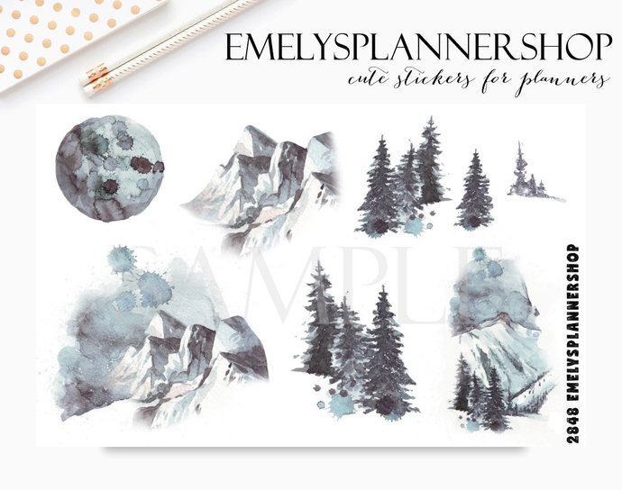 Mystery Mountains, Winter Landscapes, Forest Wood, Snow Scenes, Watercolor