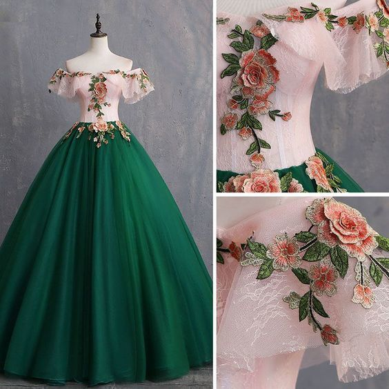 Vintage Dark Green Prom Dresses Ball Gown Appliques Lace Off-The-Shoulder Short