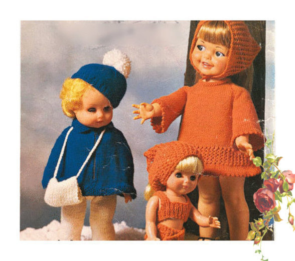 Instant PDF Digital Download Vintage Knitting Pattern Dolls Clothes 12,15,18""