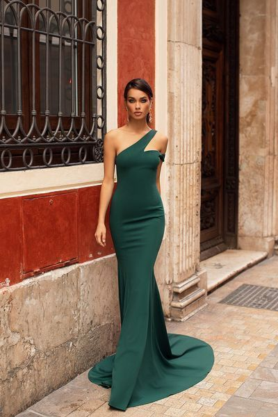 green one shoulder floor length with evening dress