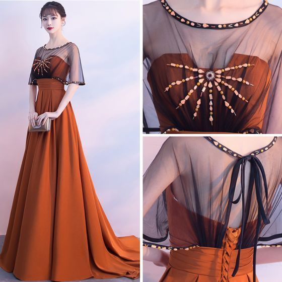 Classic Elegant Orange Evening Dresses A-Line / Princess U-Neck Backless Beading