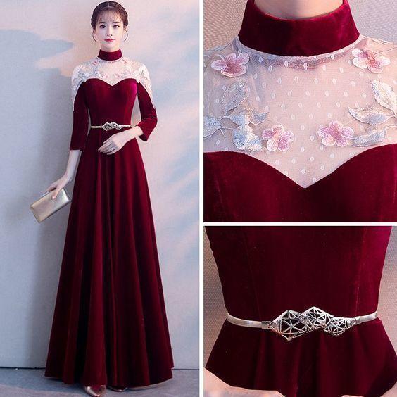 Style Chinois Bordeaux Transparentes Robe De Soirée Princesse Col Haut 3/4