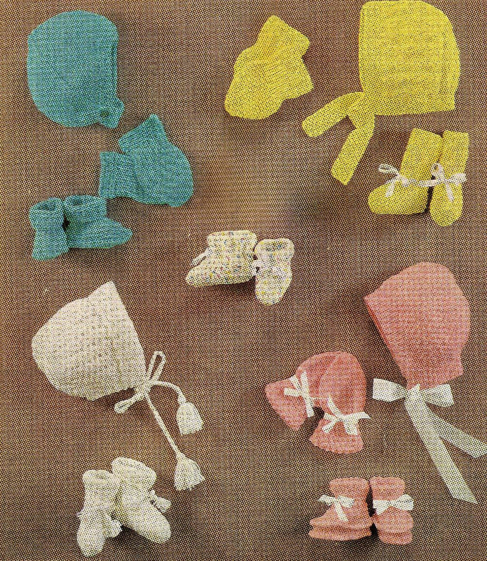 Instant PDF Digital Download Vintage Row by Row Knitting Pattern Baby Accessory
