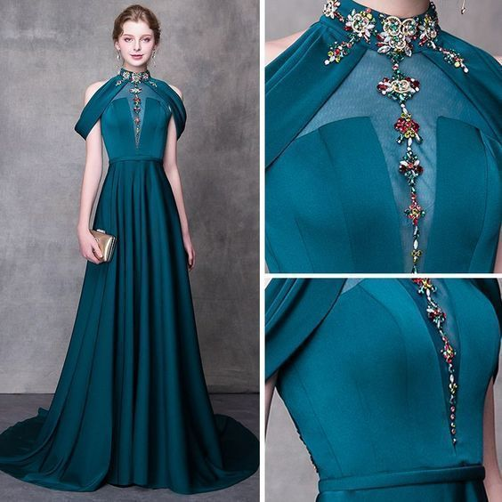 Modern / Fashion Ink Blue Evening Dresses A-Line / Princess High Neck Strapless